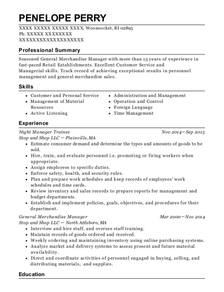 Night Manager Trainee resume format Rhode Island
