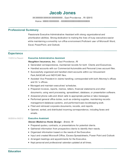 Executive Administrative Assistant resume example Rhode Island