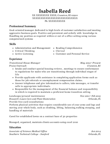 Transitional House Manager resume format Rhode Island