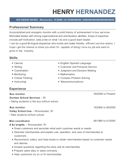 Bus monitor resume template Rhode Island