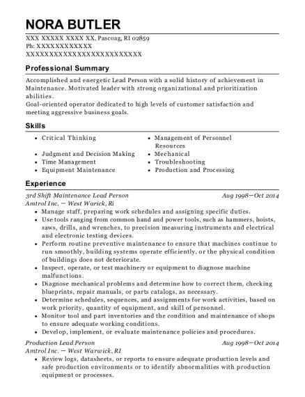 3rd Shift Maintenance Lead Person resume format Rhode Island