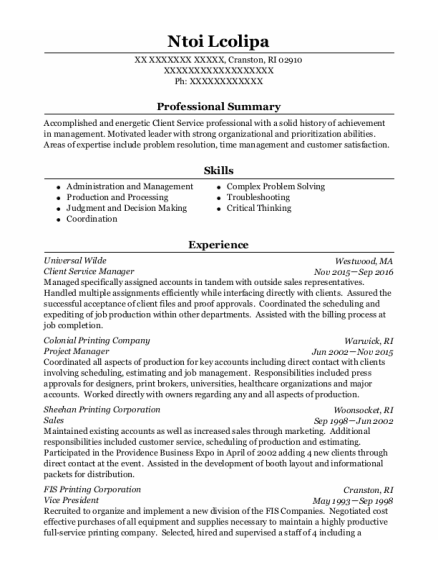 Client Service Manager resume sample Rhode Island