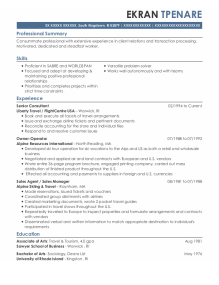 Senior Consultant resume sample Rhode Island