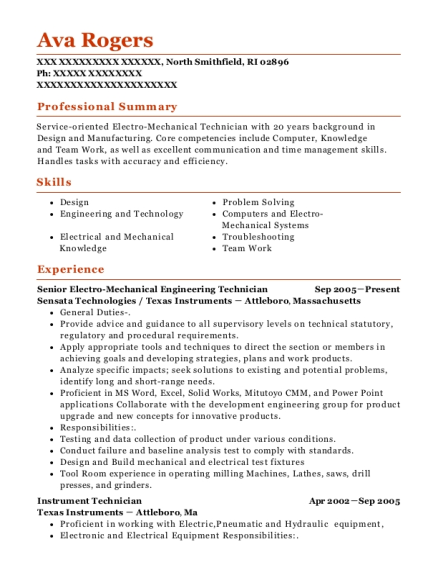 Senior Electro Mechanical Engineering Technician resume template Rhode Island