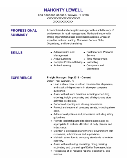 Freight Manager resume format Rhode Island