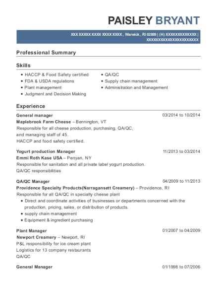General Manager resume example Rhode Island