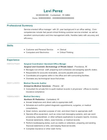 Surgical Coordinator resume example Rhode Island