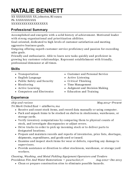 ship and recieve resume template Rhode Island