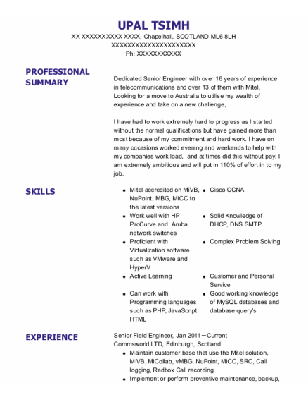 Field Service Engineer resume example SCOTLAND