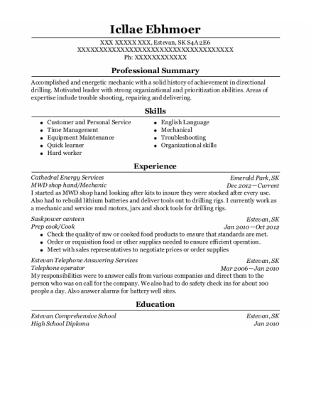 MWD shop hand resume example SK