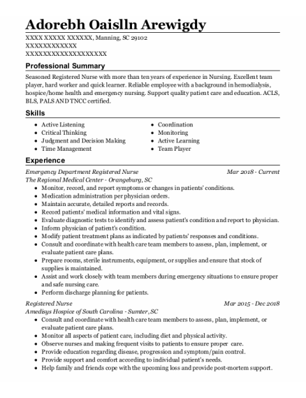 Emergency Department Registered Nurse resume sample South Carolina