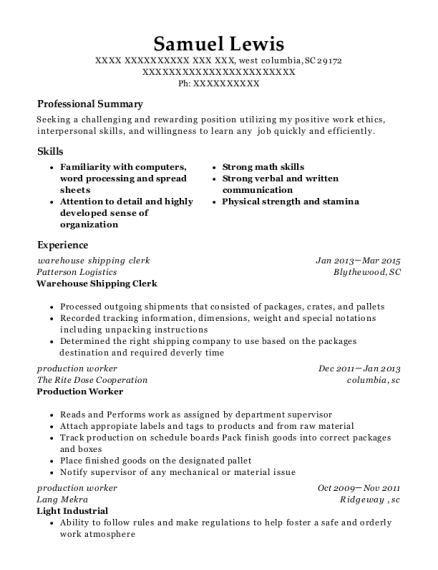 warehouse shipping clerk resume template South Carolina