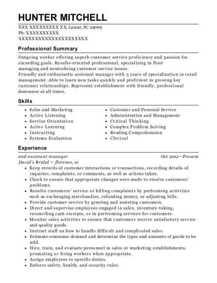 2nd assistant manager resume format South Carolina