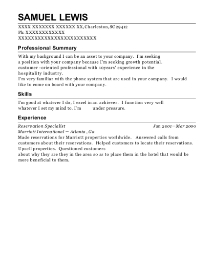 Reservation Specialist resume example South Carolina