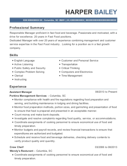 Assistant Manager resume example South Carolina