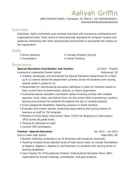 Special Education Coordinator and Teacher resume example South Carolina