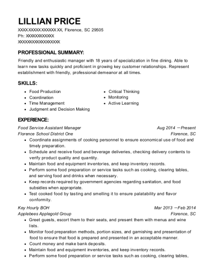 Food Service Assistant Manager resume example South Carolina