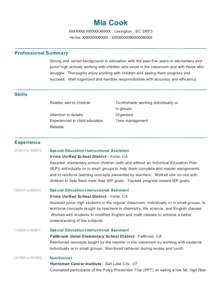 Special Education Instructional Assistant resume example South Carolina