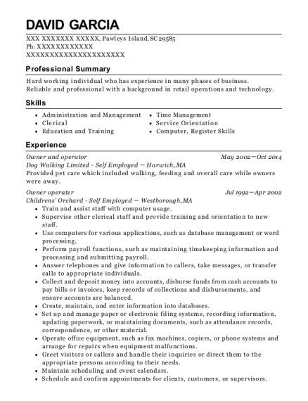 Owner and operator resume template South Carolina