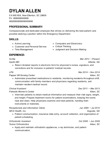 Scribe resume template South Carolina