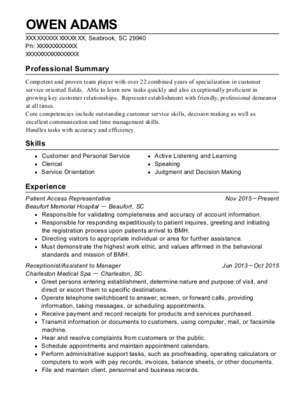 Patient Access Representative resume example South Carolina