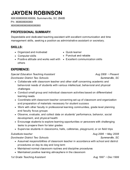 Special Education Teaching Assistant resume example South Carolina