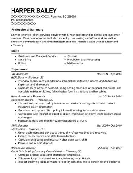 Tax Associate resume sample South Carolina