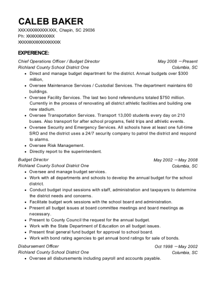 Chief Operations Officer resume format South Carolina