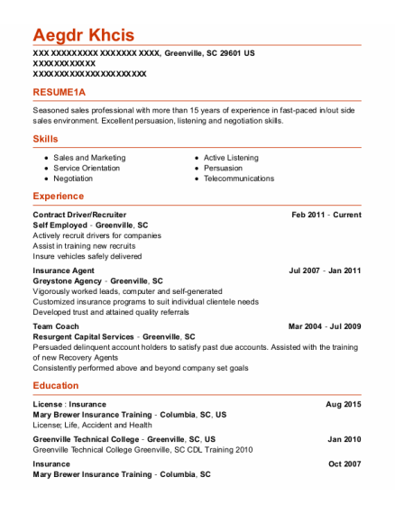 Contract Driver resume example South Carolina