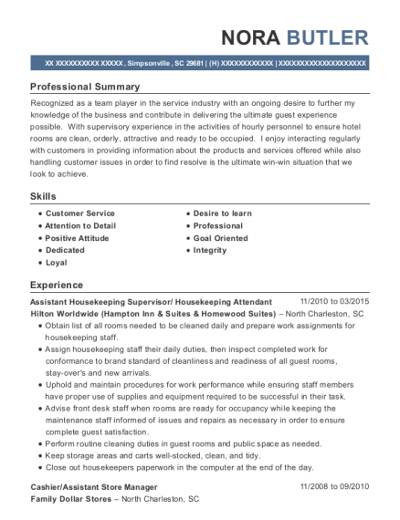 Assistant Housekeeping Supervisor resume example South Carolina