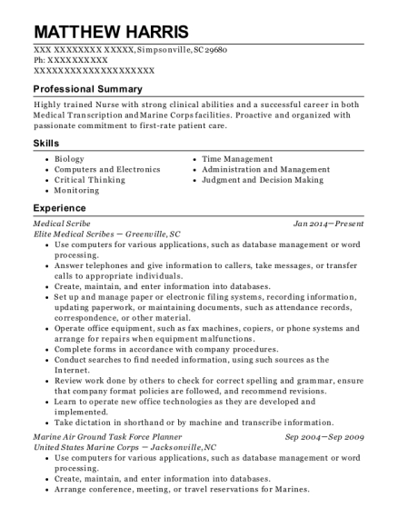 Medical Scribe resume template South Carolina