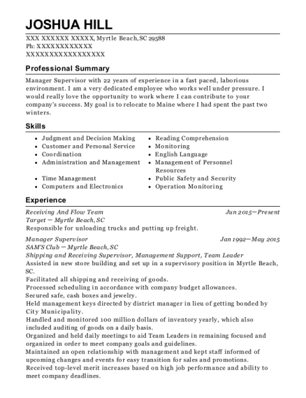 Receiving And Flow Team resume example South Carolina