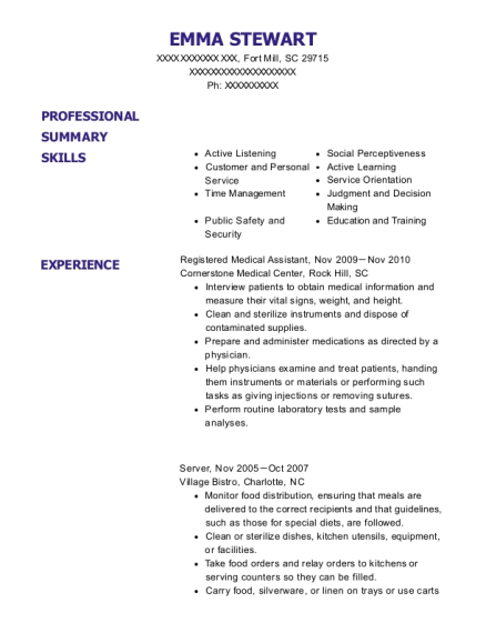 Registered Medical Assistant resume example South Carolina