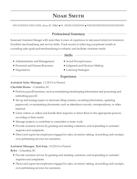 Assistant Sales Manager resume example South Carolina