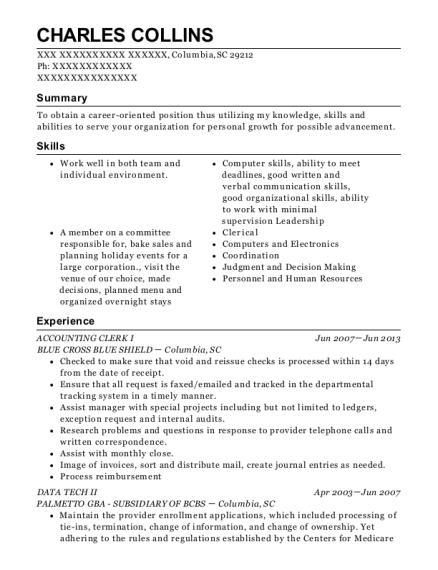 ACCOUNTING CLERK I resume template South Carolina