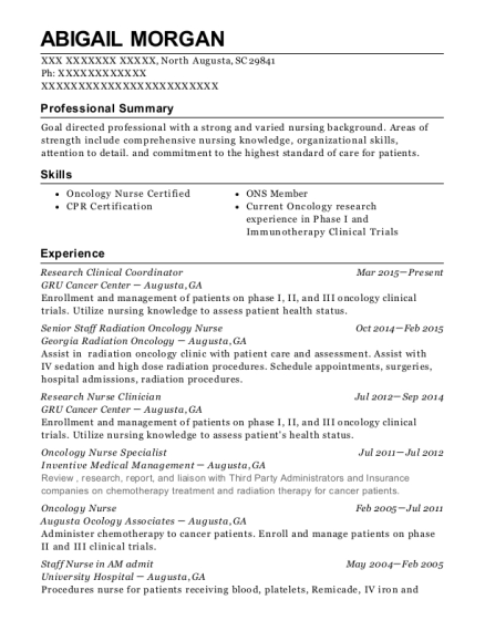 Research Clinical Coordinator resume format South Carolina