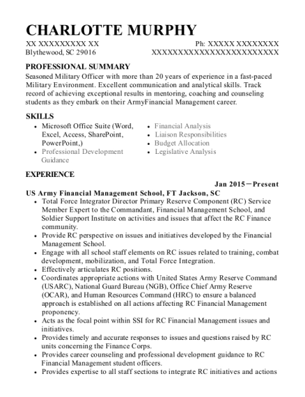 Senior Budget Analyst resume format South Carolina