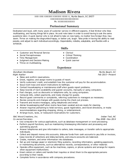 Night Auditor resume example South Carolina