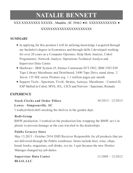 Stock Clerks and Order Fillers resume template South Carolina