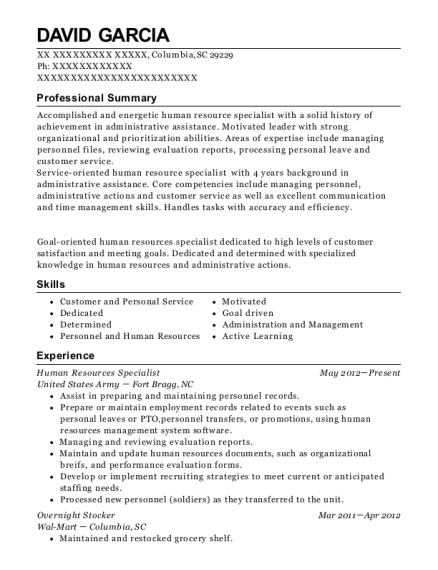 Human Resources Specialist resume sample South Carolina