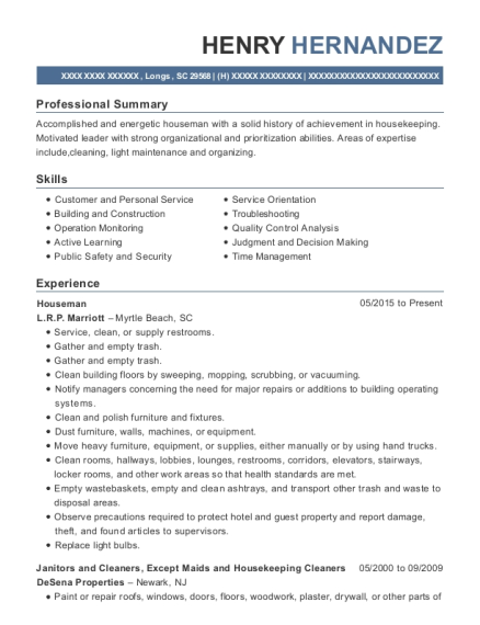 Houseman resume sample South Carolina