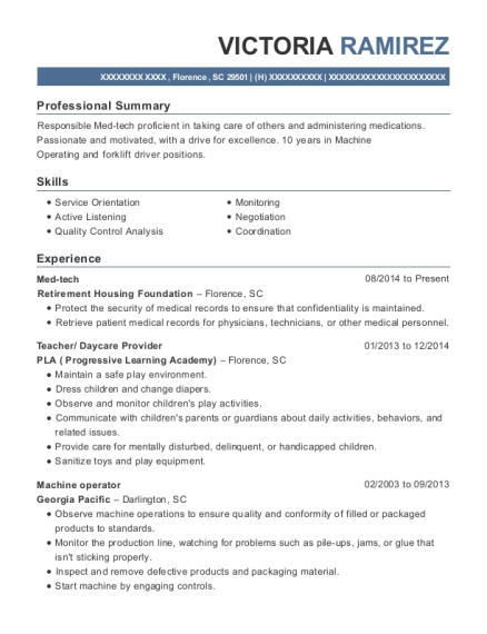 Med tech resume template South Carolina
