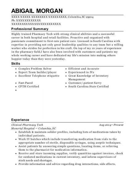 Clinical Pharmacy Tech resume template South Carolina