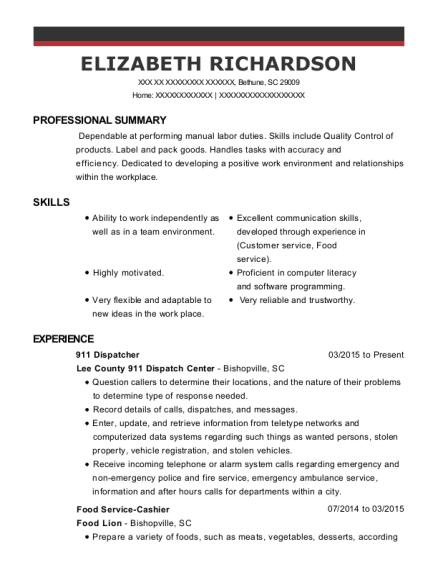 911 Dispatcher resume sample South Carolina