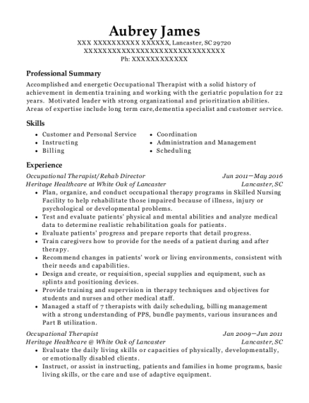 Occupational Therapist resume sample South Carolina