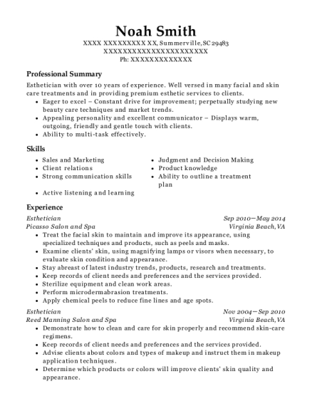 Esthetician resume sample South Carolina