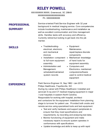 Field Service Engineer III resume sample South Carolina