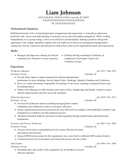 Production Manager resume template South Carolina
