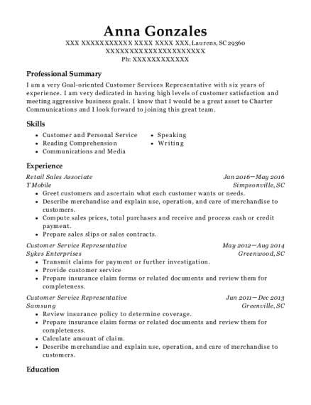 Retail Sales Associate resume template South Carolina
