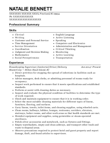 Housekeeping Supervisor resume template South Carolina